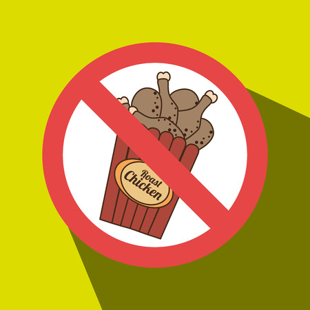 chicken fast food unhealth prohibited vector illustration eps 10