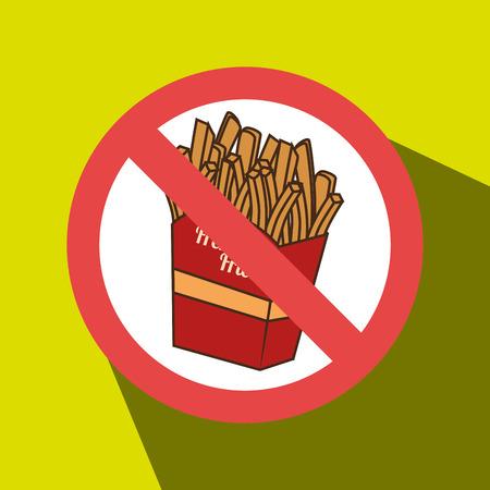 unhealth: fries fast food unhealth prohibited vector illustration eps 10