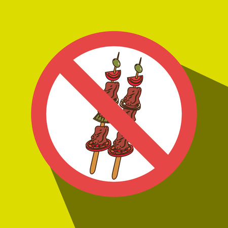 confirmed: skewer fast food unhealth prohibited vector illustration eps 10