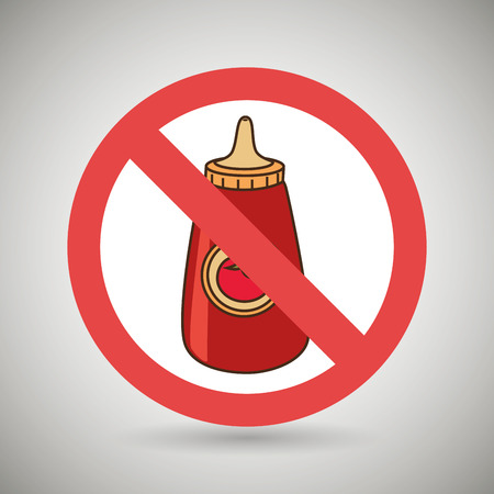 unhealth: sauce fast food unhealth prohibited vector illustration eps 10