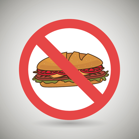 unhealth: sandwich fast food unhealth prohibited vector illustration eps 10 Stock Photo