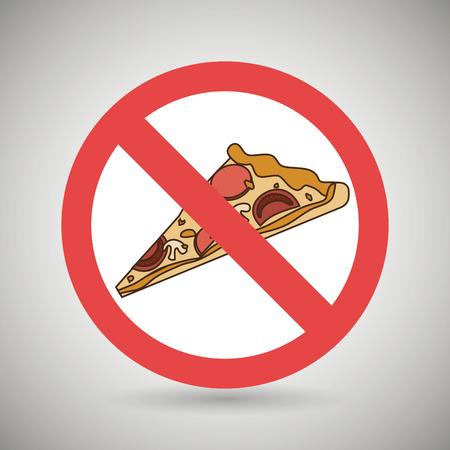 prohibido: pizza de comida rápida unhealth ilustración vectorial eps 10 prohibida