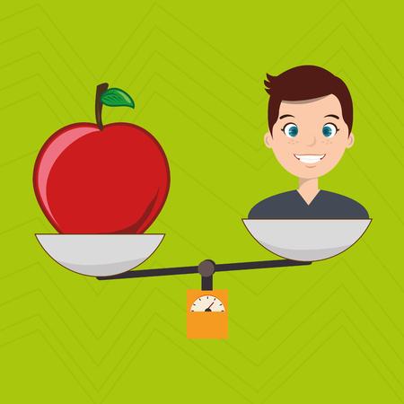 man cartoon fruit apple balance vectorillustration eps 10