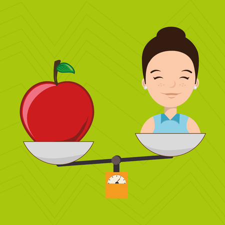 eyes are closed: woman cartoon fruit food balance vector illustration eps 10
