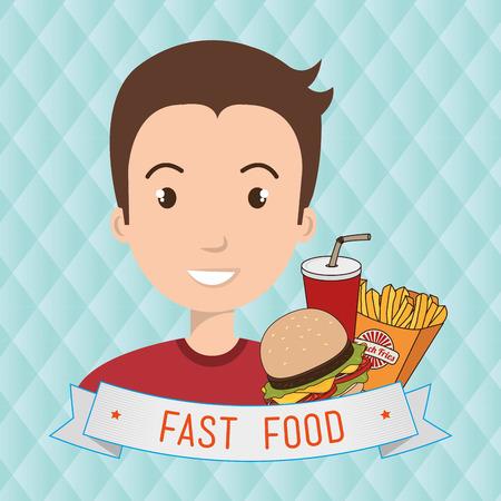 man cartoon fast food vector illustration eps 10 Ilustração