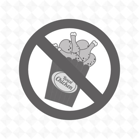 unhealth: chicken fast food unhealth prohibited vector illustration eps 10
