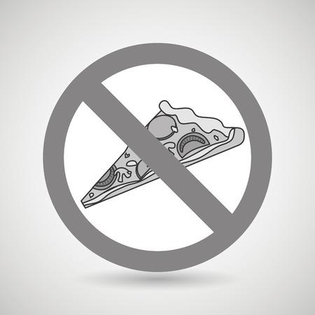 unhealth: pizza fast food unhealth prohibited vector illustration eps 10