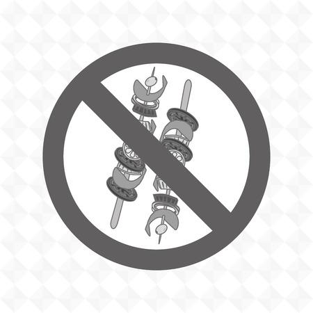 unhealth: skewer fast food unhealth prohibited vector illustration eps 10