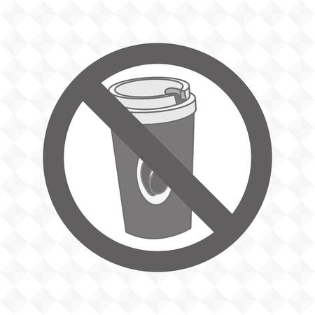 unhealth: coffee fast food unhealth prohibited vector illustration eps 10 Illustration