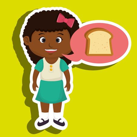cheesy: girl cartoon bread slice vector illustration eps 10 Illustration