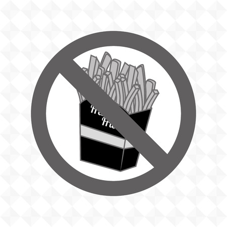 prohibido: fries fast food unhealth prohibited vector illustration eps 10