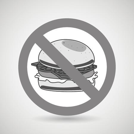 unhealth: burger fast food unhealth prohibited vector illustration eps 10