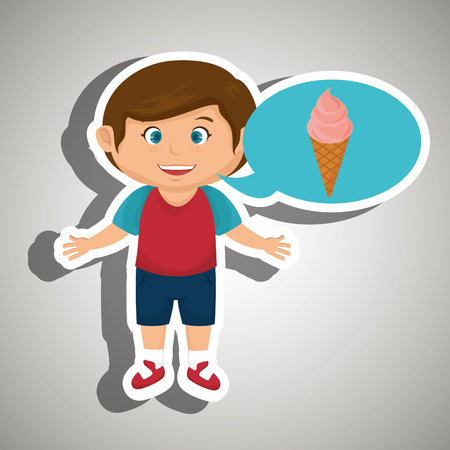 boy cartoon ice cream vector illustration eps 10