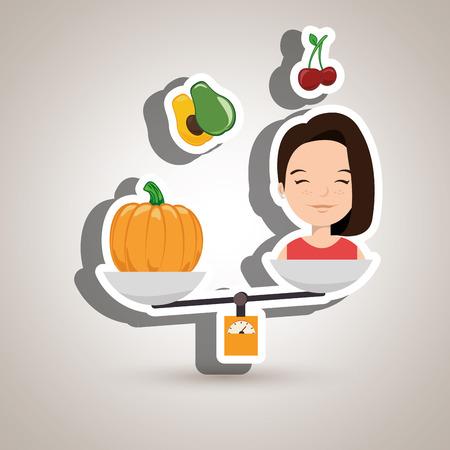 woman cartoon vegetable organic balance vector illustration eps 10