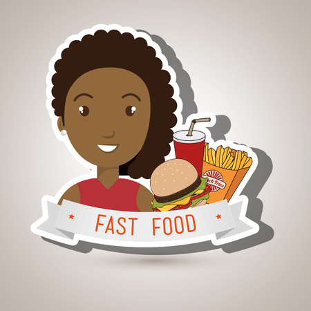 woman cartoon fast food vector illustration eps 10