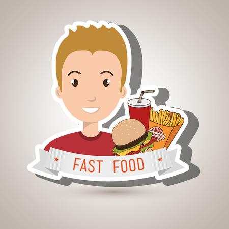 man cartoon fast food vector illustration eps 10 Illustration