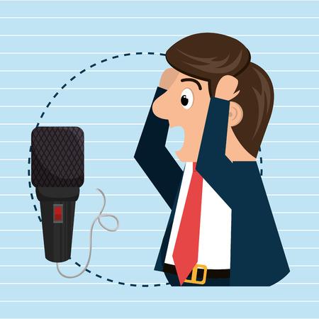 radio microphone: man speaker radio microphone vector illustration eps 10
