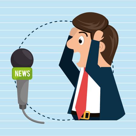 man speaker radio microphone vector illustration eps 10