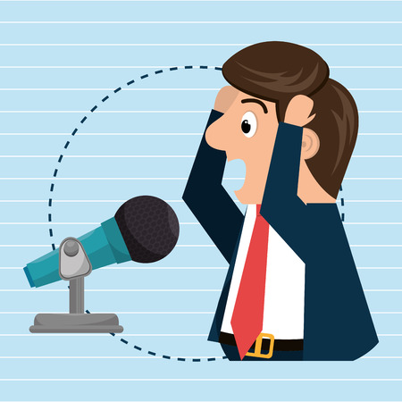 orating: man speaker radio microphone vector illustration eps 10