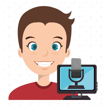 man cartoon speak microphone screen pc vector illustration