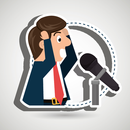 speakers: man speaker radio microphone vector illustration eps 10