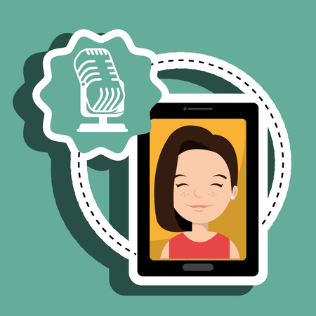 woman cartoon smartphone microphone red background vector illustration eps 10