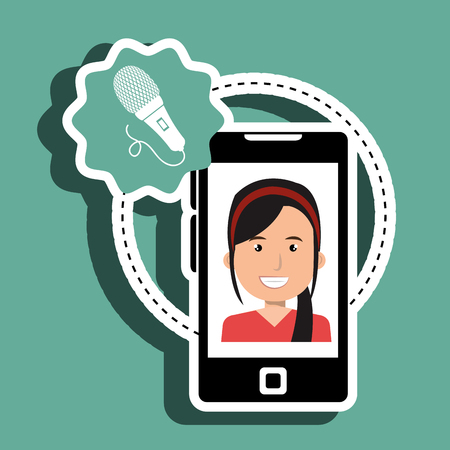multimedia background: woman cartoon smartphone microphone red background vector illustration eps 10