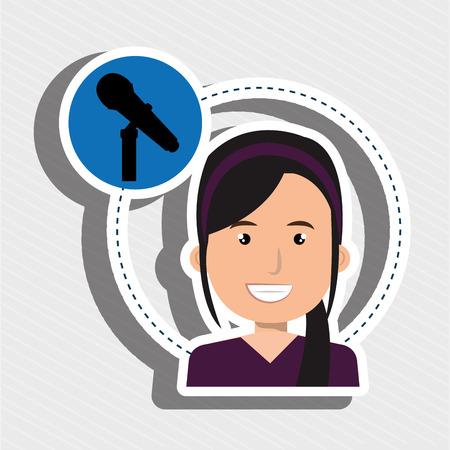 woman microphone audio speak vector illustration eps 10
