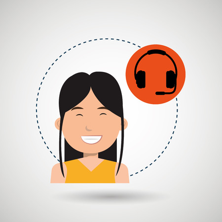 woman headphone isolated icon design, vector illustration graphic