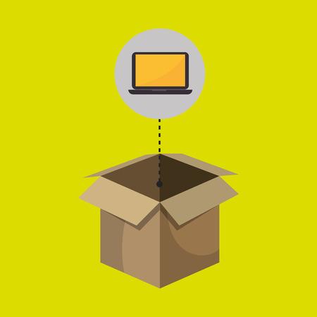 consignment: box computer laptop vector illustration eps 10 Illustration