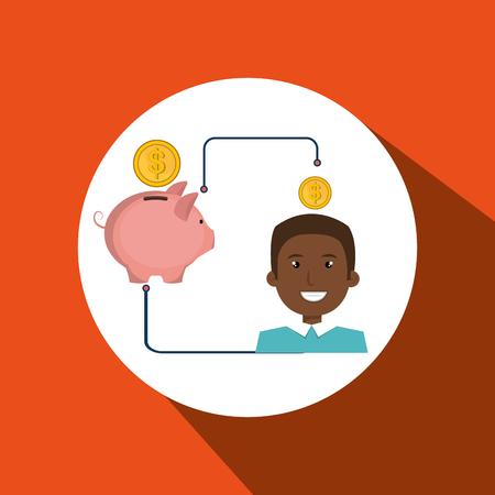 man cartoon piggy currency money vector illustration eps 10 Illustration