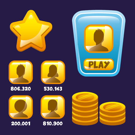 users video: video game interface with stars, users and gold coins icon. colorful design. vector illustration Illustration