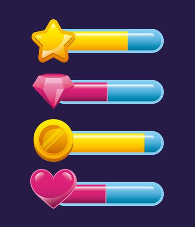 Bars der Partitur, Videospiel-Interface-Konzept. bunte Design. Vektor-Illustration Vektorgrafik