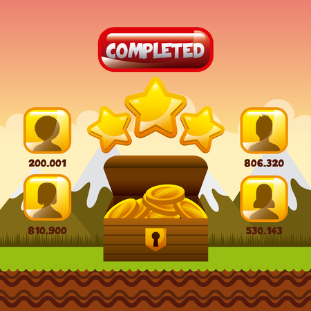 users video: video game interface with users, stars and  box with gold coins icon. colorful design. vector illustration