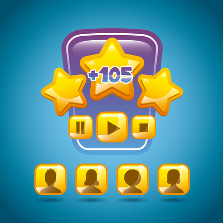 users video: video game interface with stars, users and buttons icon. colorful design. vector illustration Illustration