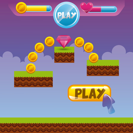 video game interface with coins, heart and diamond icon. colorful design. vector illustration Illustration