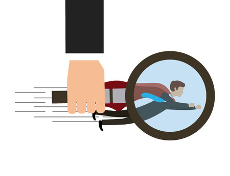 business flying: hand holding a magnifying glass and businessman flying. colorful design. competitive business concept. vector illustration