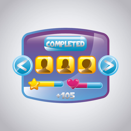 users video: video game interface with users and level bars icon. colorful design. vector illustration Illustration