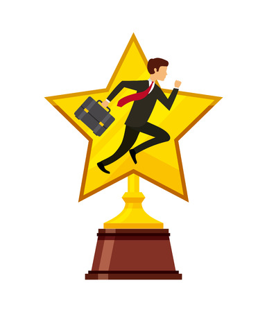 star trophy with businessman icon over white background. colorful design. competitive business concept. vector illustration Illustration