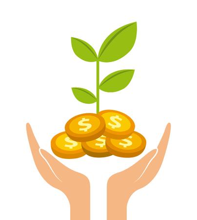 main avec l'icône des plantes et des pièces d'or sur fond blanc. design coloré. concept de profit monétaire. illustration vectorielle