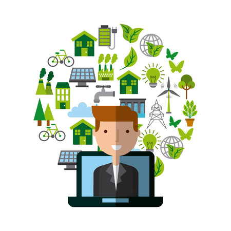 desing: laptop computer with cartoon man on screen and ecology icons around over white background. colorful desing. vector illustration Illustration