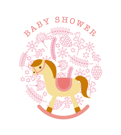 desing: baby shower card with horse toy and decorative ornaments over white background. colorful desing. vector illustration