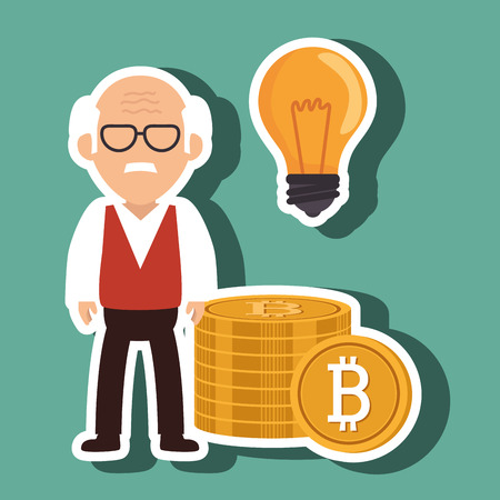 man bit coin idea vector illustration