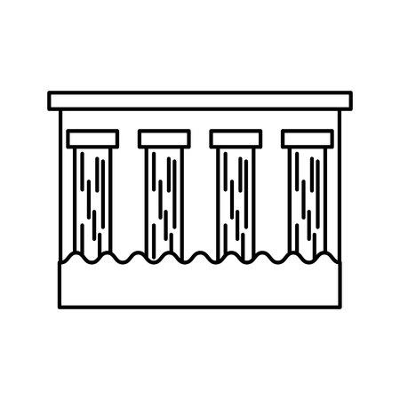 Barrage Hydroélectrique Icône Isolé Illustration Vectorielle Conception