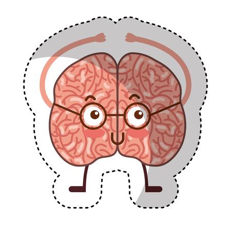 hersenen menselijk kawaii karakter vectorillustratieontwerp