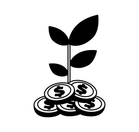 coins plant isolated icon vector illustration design Illustration
