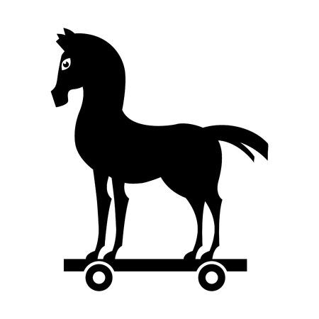 trojan silhouette de cheval icône isolé illustration vectorielle conception