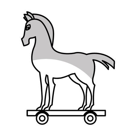 cavallo di troia: trojan horse silhouette isolated icon vector illustration design