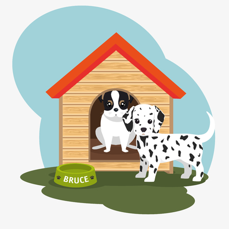 two dog house bowl food vector illustration eps 10