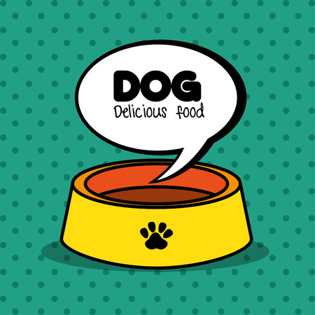 wiener: dog delicious food plate clean green dot background vector illustration eps 10